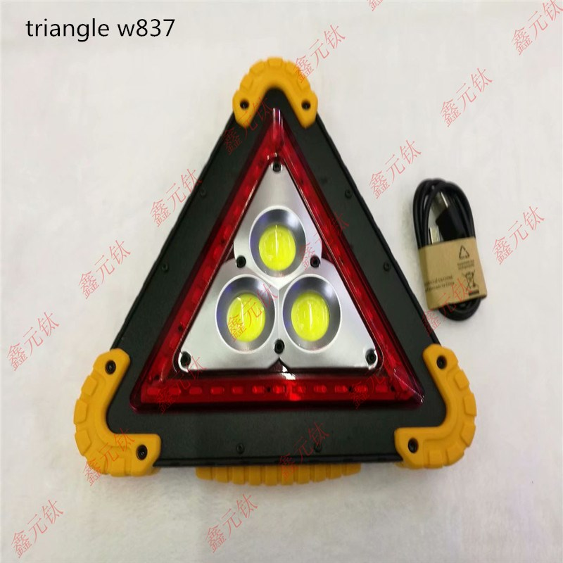 MULTIFUNCTIONAL Working Lamp W837 White Triangle Emergency Light Camping Lamp Moving Light Highlighted 2pcs Cob 15w