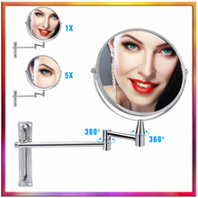 цена Cosmetic Double-sided 1x 5x Magnifying Mirrors Chrome Round Wall Cosmetic Mirror Foldable Vanity Mounted Bathroom Toilet Mirror