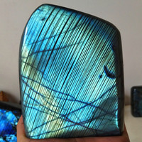 A 1199g Natural labradorite stone Moonstone home decoration display pierre stones and crystals