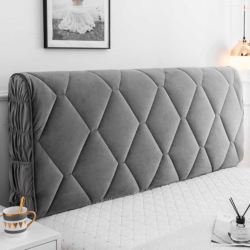 Bed Headboard Cover Elastic Waterproof Dust Headboard Cover Thicken All-Inclusive European Soft Protection Cover Washable 10-Full