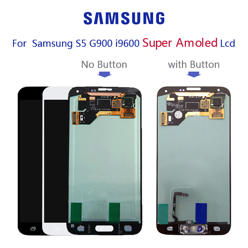 Original Super AMOLED For SAMSUNG Galaxy S5 G900F <font><b>G900H</b></font> LCD <font><b>display</b></font> Touch Screen Digitizer Assembly with Adhesive image