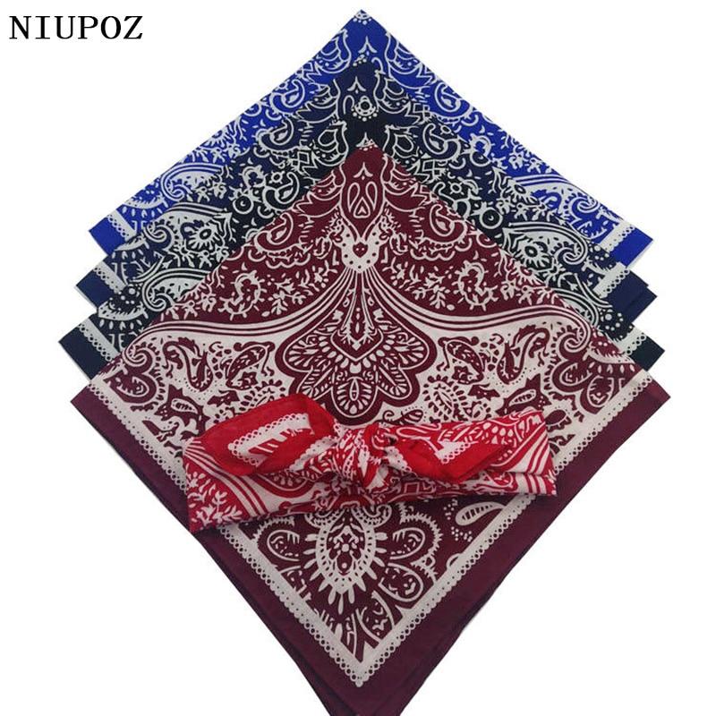 58*58cm Fashion Women Foulard Hip Hop Cotton Bandana Square Cashew Scarf Headband Unisex Black Red Paisley High Quality