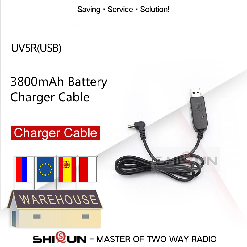 USB Charger Cable For BAOFENG UV-5R Battery 3800mAh BL-5 5RA 5RB USB Charging Cable For BF-UVB3 Plus UV-S9 UV-R50 Walkie Talkie