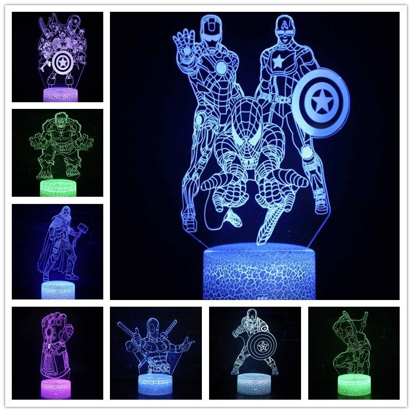 Marvel Avengers Acrylic 3D Lamp Super Hero Illusion Night Light Iron Man Spider Man Captain America Team LED Table Lamp Kid Gift