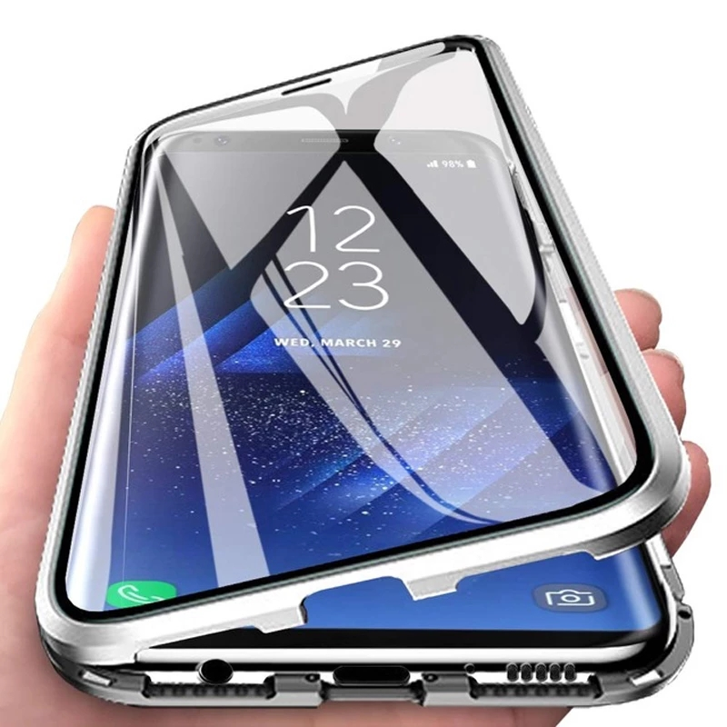 Magnetic Metal Double Sided Glass Case For Samsung Galaxy A32 A52 A12 A21S S20FE Note 20 A51 A71 A31 M31 M51 A50 A70 A41 A40 A30