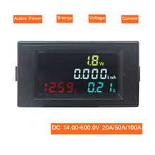 DC Power Energy Meter Monitor Voltmetro Amperometro 4 in 1 DC 14.00-600.0V 20A/50A/100A volt Amp Watt KWH Monitor
