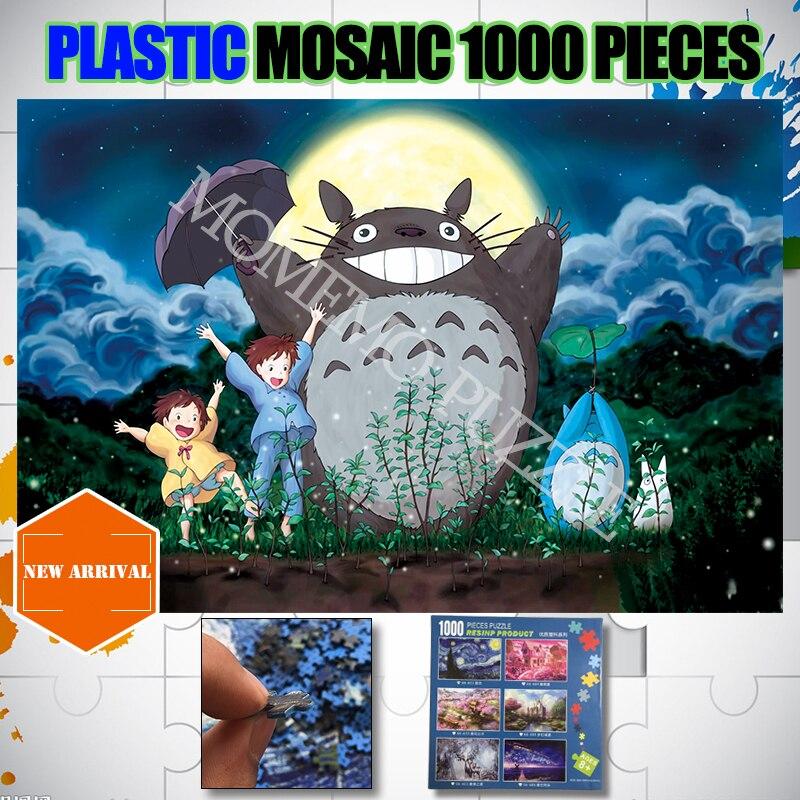 Totoro Plastic Jigsaw Puzzles 1000 Pieces Hayao Miyazaki Anime Puzzle Toys Adults Kids Brain Challenge DIY Assemble Puzzle Toys