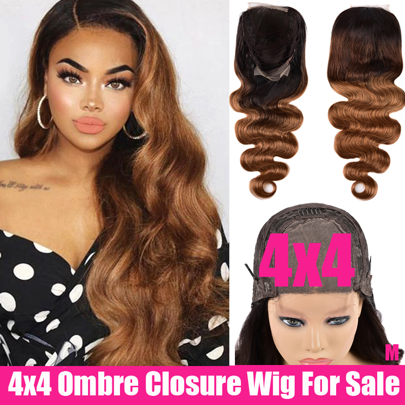150 Density Peruvian Wig With 4x4 Lace Closure Wig Remy Glueless Body Wave Wig Honey Brown Ombre Human Hair Wigs For Black Women