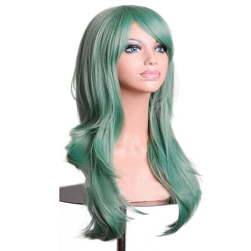 Soowee Wavy Long Blue Gray Cosplay Hair Synthetic Wigs Hair Pink Wig with Bangs for Women Fake Hairpieces