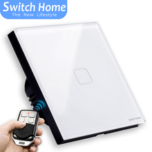 1 gang Wireless Remote Control touch light Switch, white Glass panel Sensor wall touch switch, EU standard light wall switch switch eu standard switch wall touch switch luxury white crystal glass 1 gang 1 way switch 220v lamp touch sensor wall switch