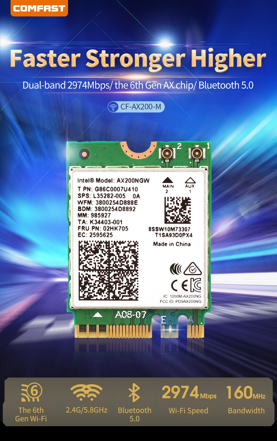 Comfast Dual Band 2400Mbps <font><b>802.11ax</b></font> Intel Wifi 6 AX200NGW M.2 Wireless Wlan Wi-Fi Card Adapter For Intel AX200 BT5.0 CF-AX200 image