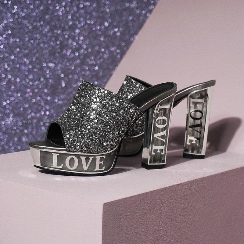 Womens Unique Sequins Bling Slipper Platform Peep Toe Slingbacks Sandals Super Block High Crystal LOVE Print Heel Shoes Sliver