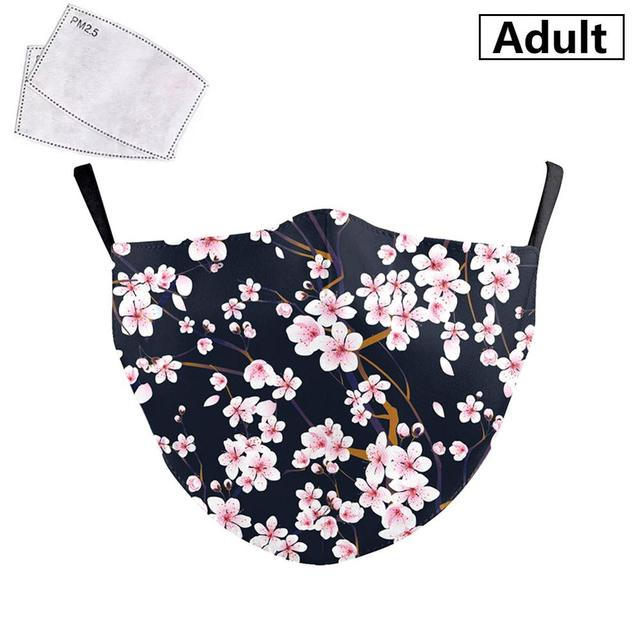 PM2.5 Face Adult Mask Plum blossom sunflower Print Mask Reusable Washable Filter Pad Pollution Activated Carbon Women Face Masks 2