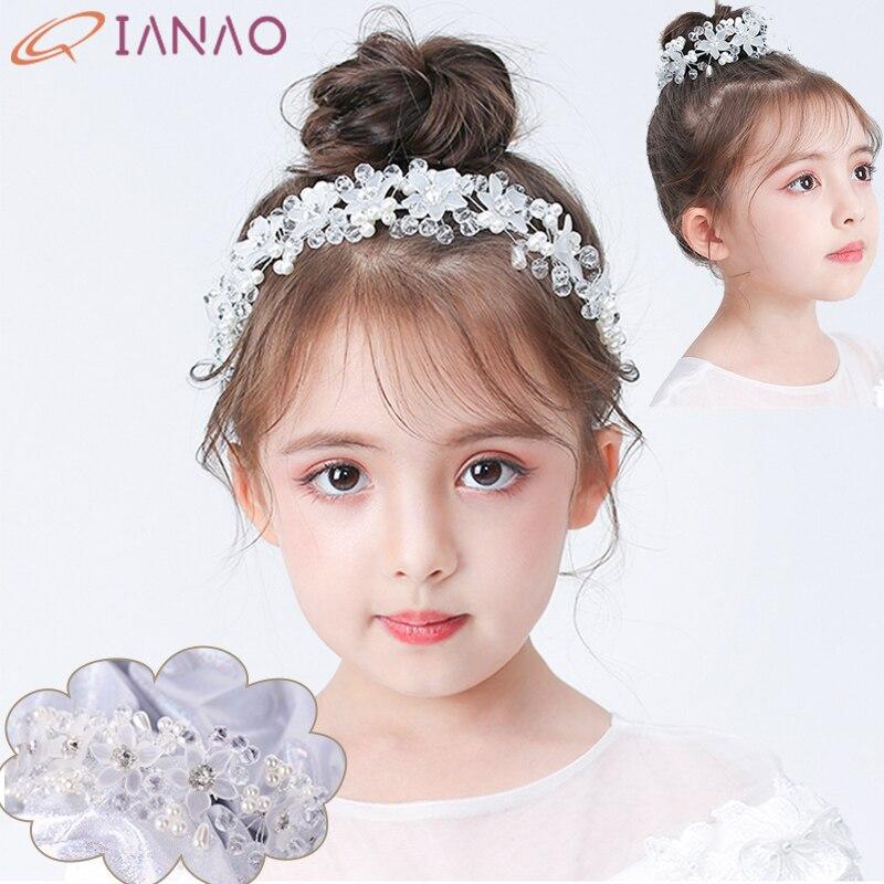 QIANAO Crystal Beads Flower Crown Bride Diadem Headpiece Flower Tiaras And Child Princess Hair Pearl Jewelry Headwear