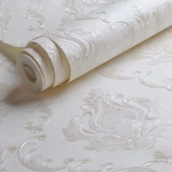 White Embossed Damask Wallpaper Plain Solid color Texture Wall Paper For Bedroom Living room Background Decor