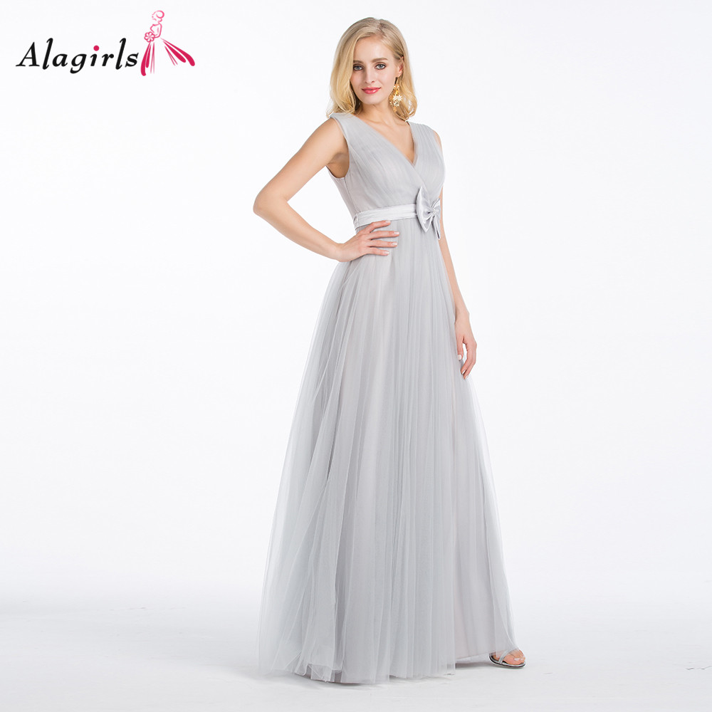Alagirls V-neck ruched tulle bridesmaid dresses Women sleeveless grey long robes Simple floor length party gowns bow plus size