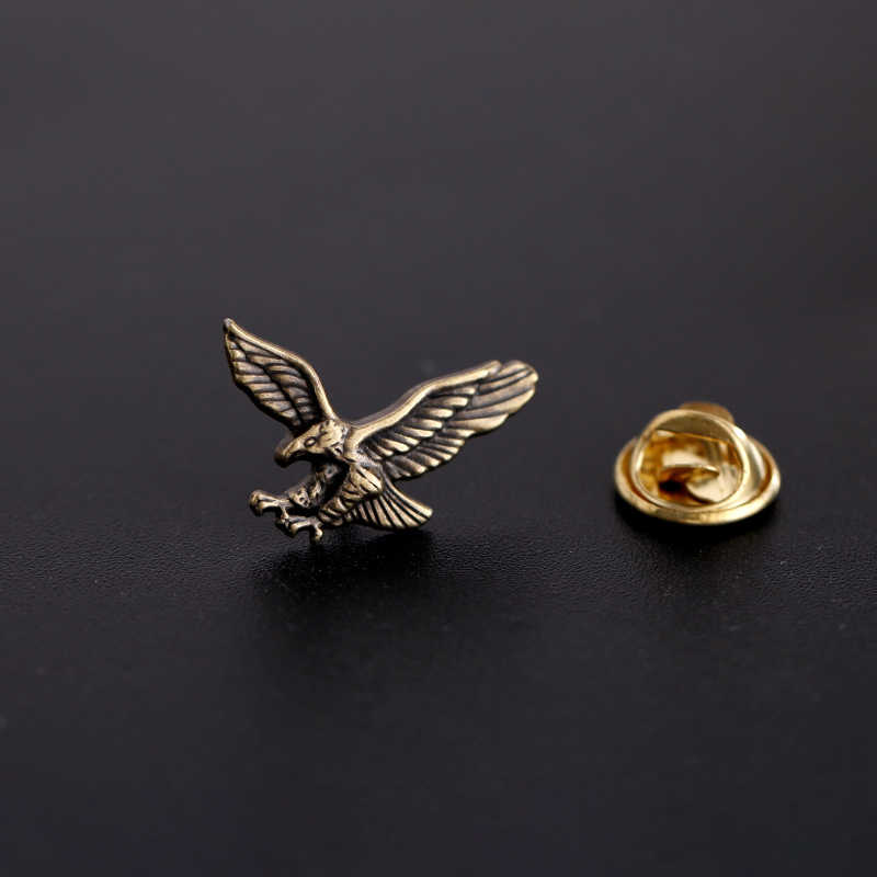 Men/'s Fashion Alloy Pins Retro Eagle Crown Eagle Brooch Vintage Badge Collar Pin