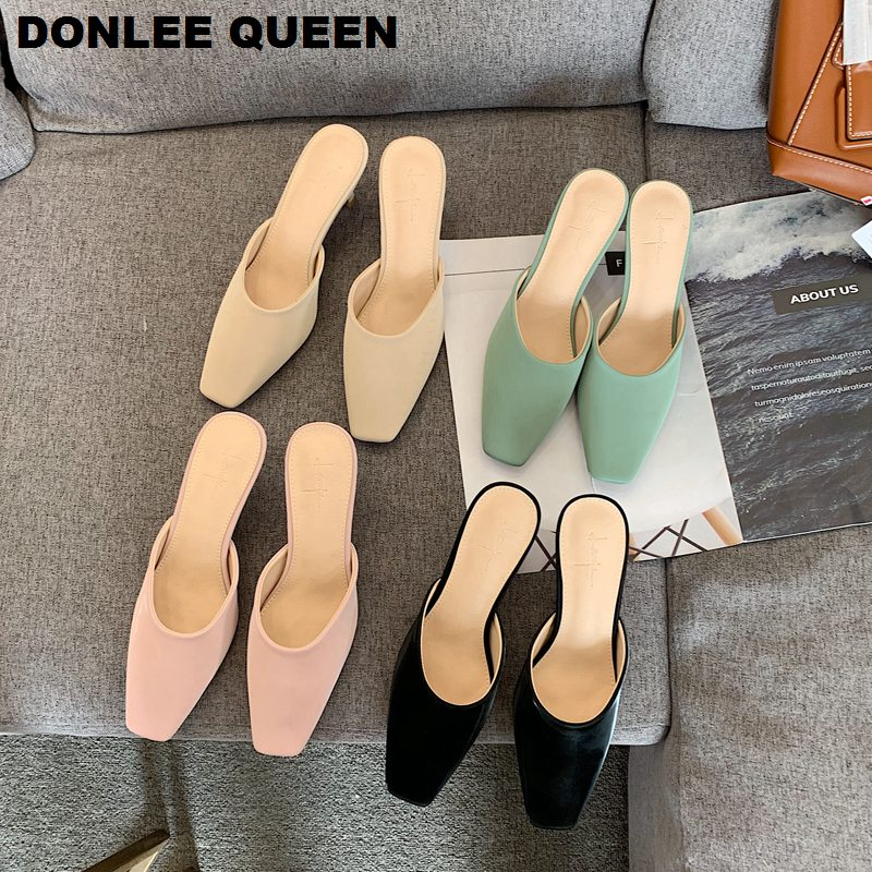 Brand Heels Slippers Women Slip On Mules Shoes Women Slides Outdoor Slippers Thin Low Heel Shoes Ladies Fashion Shoes  For Party
