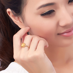 Image 3 - LSZB anillo de oro puro de 18K con citrino Natural para mujer, sortija con forma de corazón, superventas, 2020