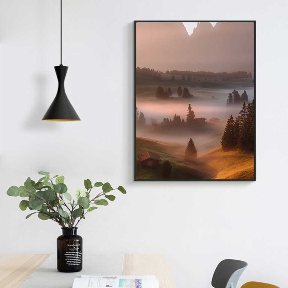 Modern Nordic Forest Poster wonderland Canvas Art Print landscape Bedroom Decor Canvas Painting Wall Picture Home Decoration in Painting Calligraphy from Home Garden