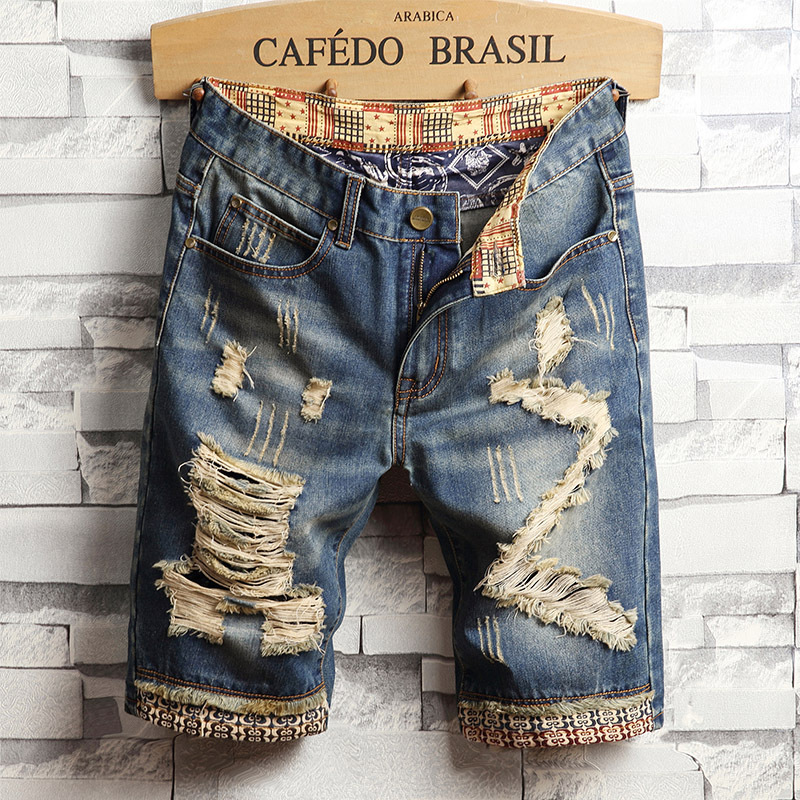 Summer Thin Section With Holes Denim Shorts Capris BOY'S Fashion Shorts Casual Breeches Men Capri 5 Short