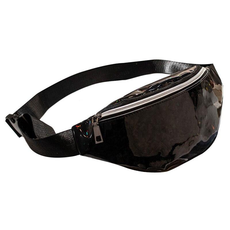 AUAU-Sequins Holographic Fanny Pack Waist Pack Women'S Chest Waist Bag Women Belt Bag Bum Bag(Black)