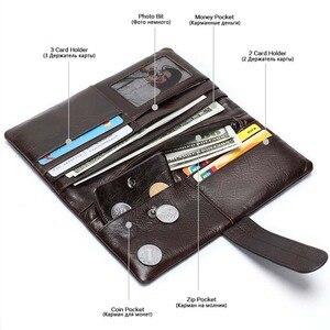 Image 4 - WESTAL hommes portefeuille en cuir véritable sac à main pour hommes pochette mâle longs portefeuilles pour téléphone porte monnaie hommes sacs dargent porte cartes 6018