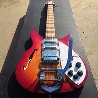 Guitarra eléctrica, cuerpo rojo cereza con agujero f, 34 pulgadas, entrega gratuita, 325