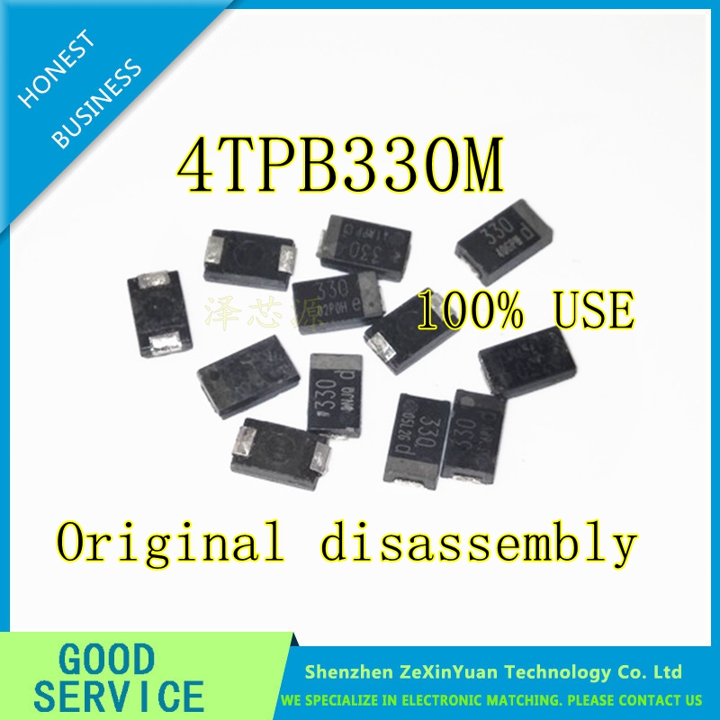 20pcs/lot SMD 6.3V 330UF Tantalum Capacitor Low ESR 330UF 4TPB330M 7343 Can Replace OE128 OE907 0.8