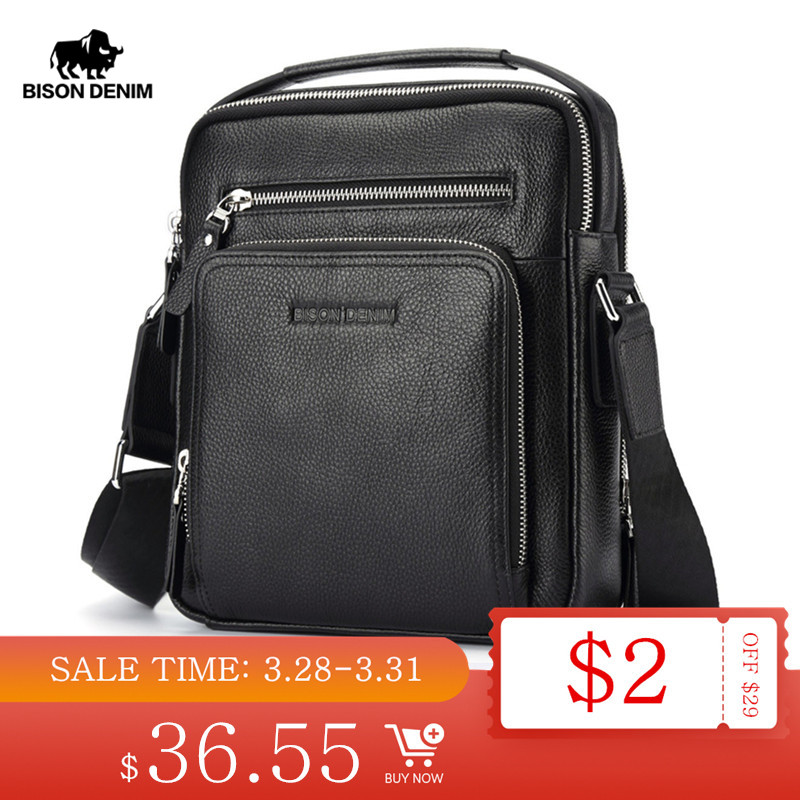 BISON DENIM Genuine Leather Men Bags Ipad Handbags Male Messenger Bag Man Crossbody Shoulder Bag Men's Travel Bags N2333