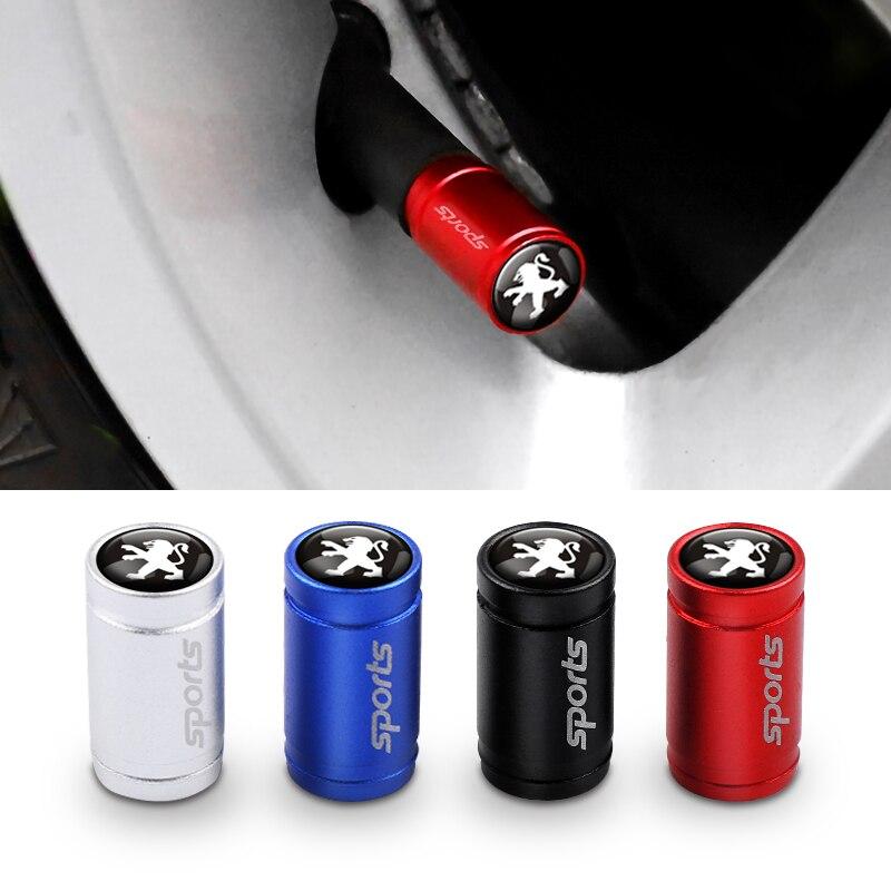 Car Styling 4Pcs Metal SPORT Emblem Wheel Tire Valve Caps Stem Case For Peugeot 107 207 307 407 308 607 508 3008 Accessories