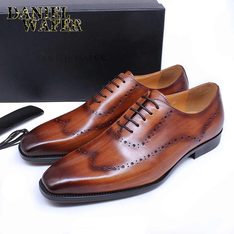 Men/'s Dress Formal Oxfords Shoes Suit  Leather Lace up Brogue Wing Tip Wedding