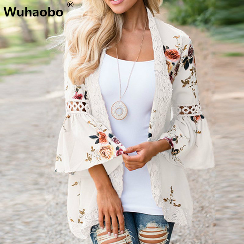 Wuhaobo Autumn 2019 Boho Women Jacket Lace Flare Long Sleeve Slim Casual Open Stitch Tops Fashion Women Clothes Shirt Coat