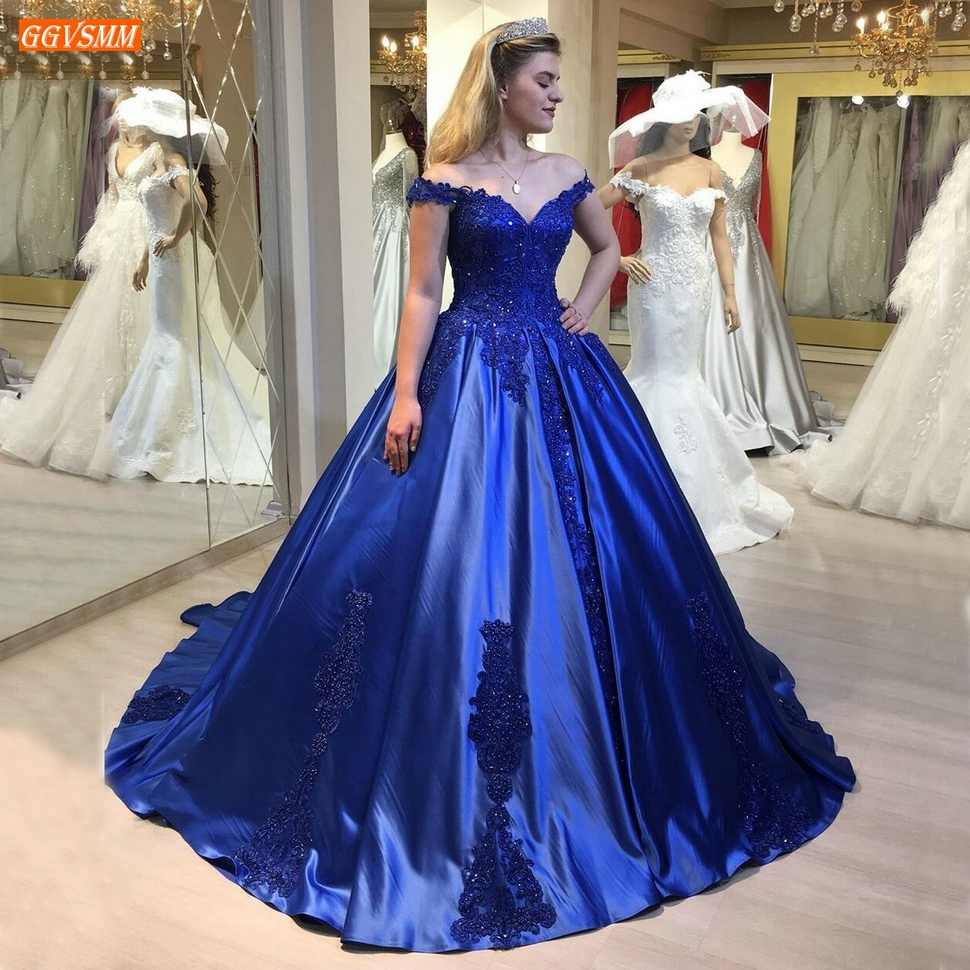 Royal Blue Evening Gowns Off Shoulder Lace Up Appliqued Beaded Satin Vestido De Festa 2020 Robe Elegant Women Dresses Party Long