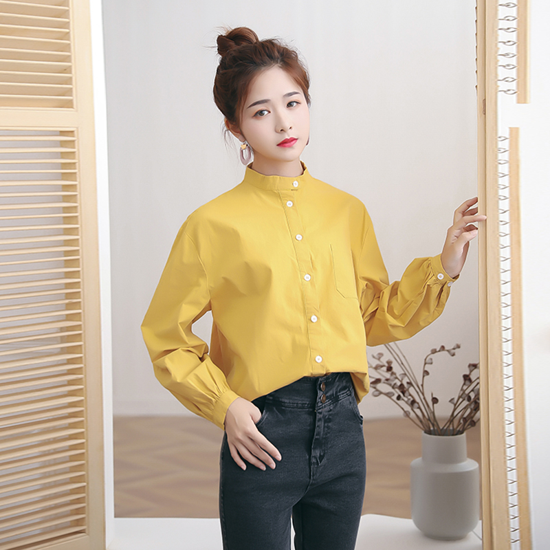 2019 New Autumn Casual Women Shirts Lantern Sleeve Solid Loose Stand Neck Chest Pocket Blouse Shirt <font><b>3601</b></font> image