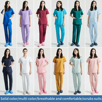 Unisex V-Neck Work clothes High Quality Pet grooming institutions Scrubs set Beauty Salon clothes Scrubs Tops Pants Spa Uniforms