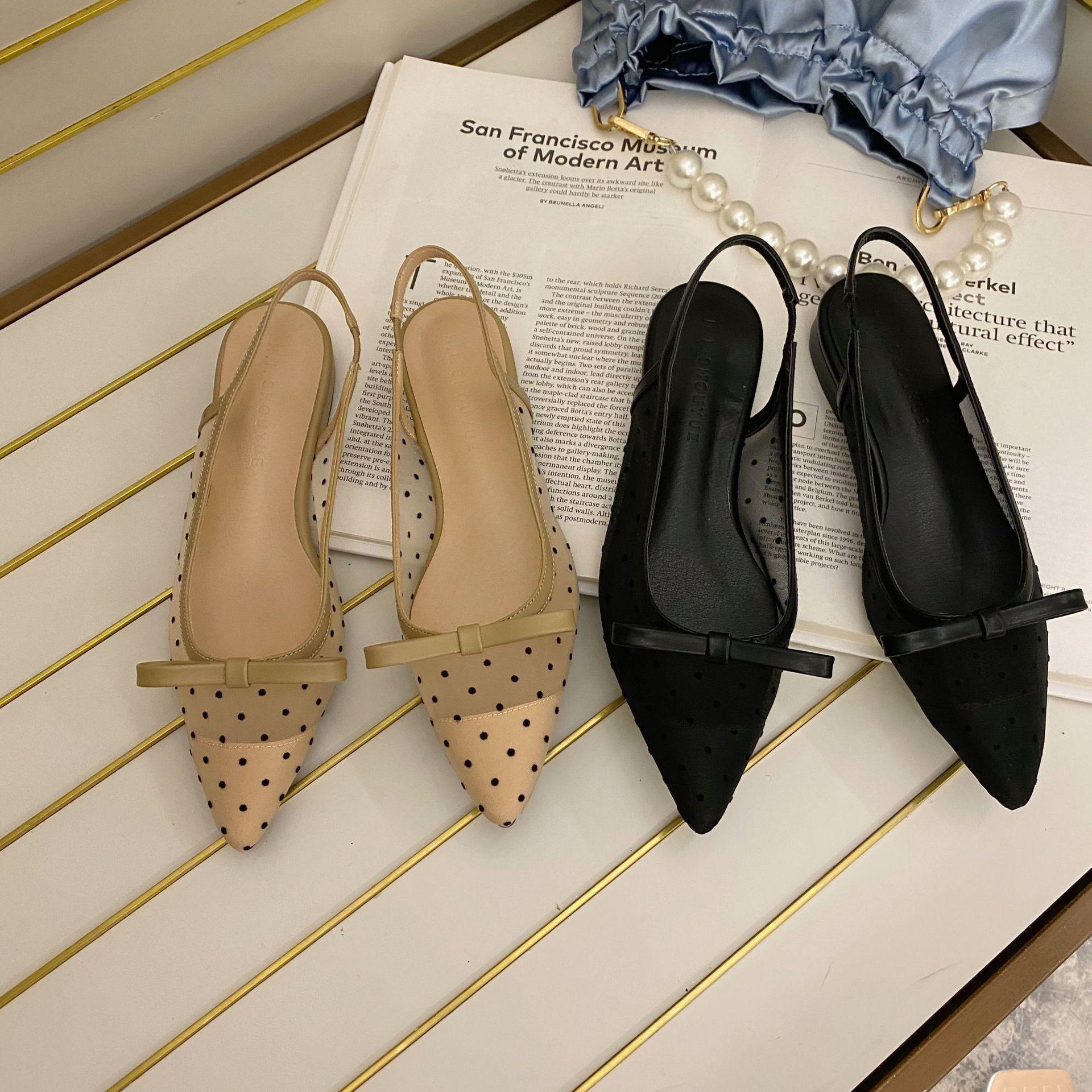 2020 Summer New Mesh Polka Dot Ping Sandals Female Tip In Her Baotou Bow Sandals Female