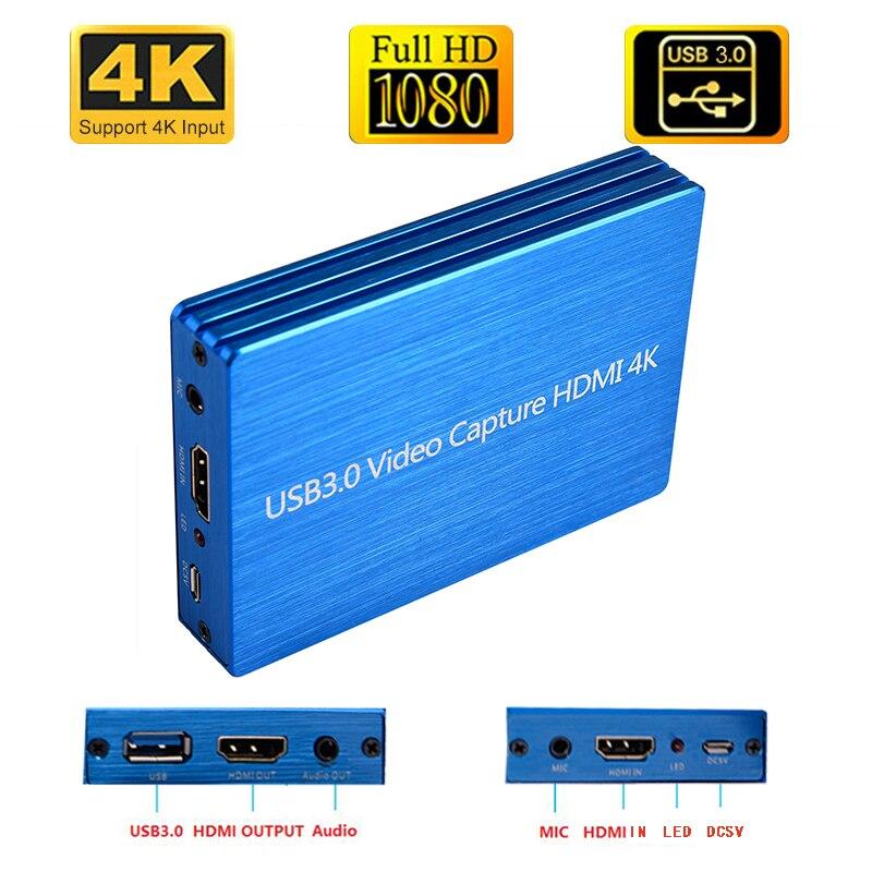 Видеорегистратор 4K HDMI-USB 3,0, 1080P, 60 кадров/с