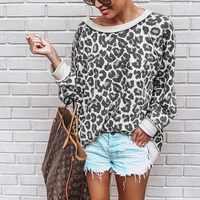 2019 nouvelle mode femmes sweat col rond imprimé léopard Jersey chemise ample 5 couleurs femmes pulls hauts