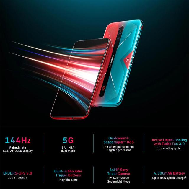 Original Nubia Red Magic 5G Gaming SmartPhone 6.65 inch Redmagic 5G Game Mobible Phone Snapdragon 865 Android 10 4500mAh WIFI 6