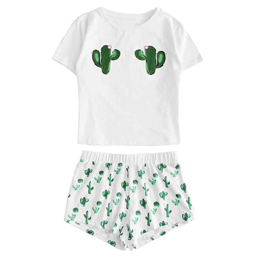 2020 Nuevo Conjunto De Pijamas Para Mujer Conjunto De Pantalones Cortos Casuales De Manga Corta Camiseta Estampada Ropa De Dormir Conjunto De Pijamas Pijama Para Mujer Pijama Para Mujer Aliexpress