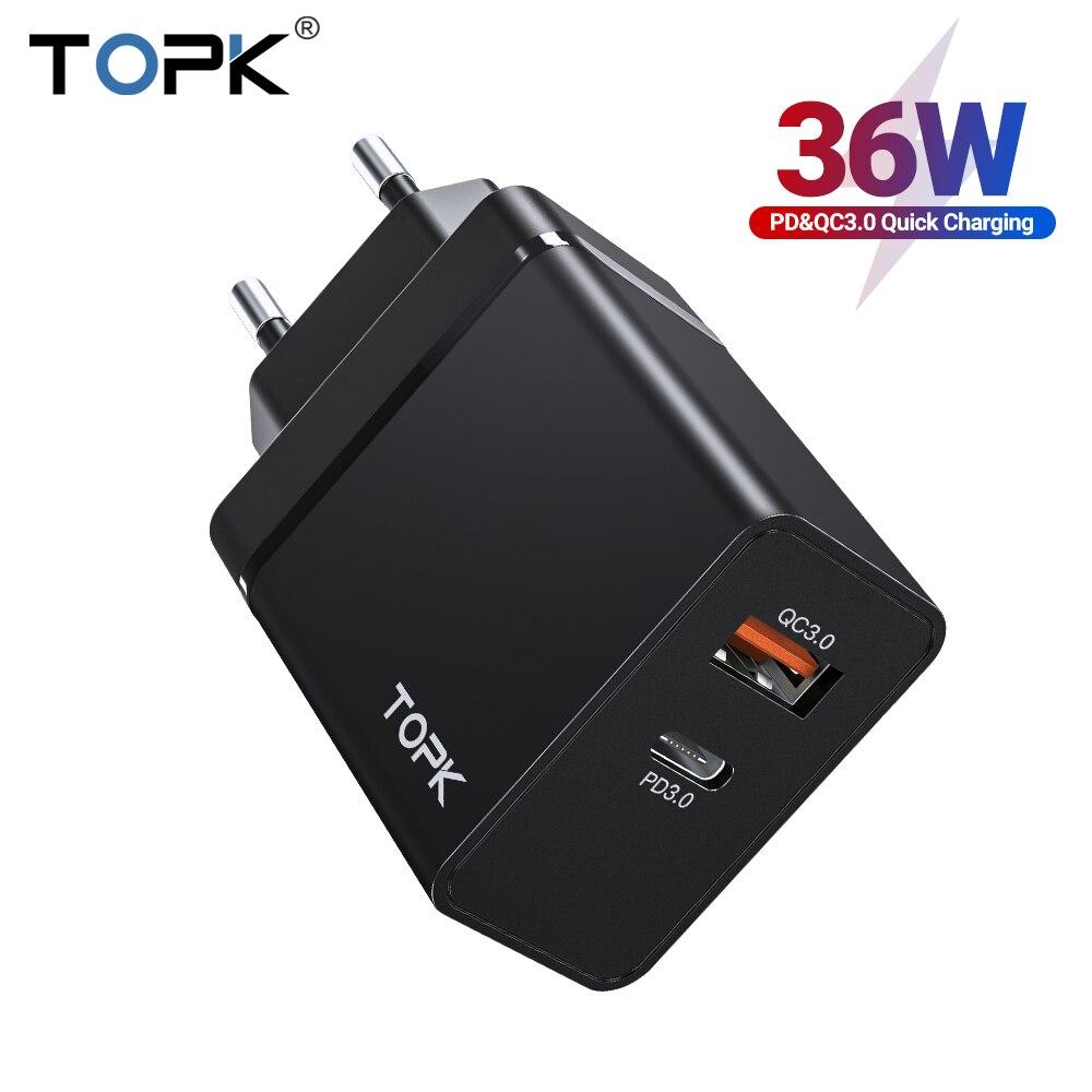 TOPK 36W Quick Charge 3,0 USB Ladegerät PD USB C Ladegerät Schnell Ladegerät US UK EU Stecker Adapter für iPhone 11 Xiaomi Samsung