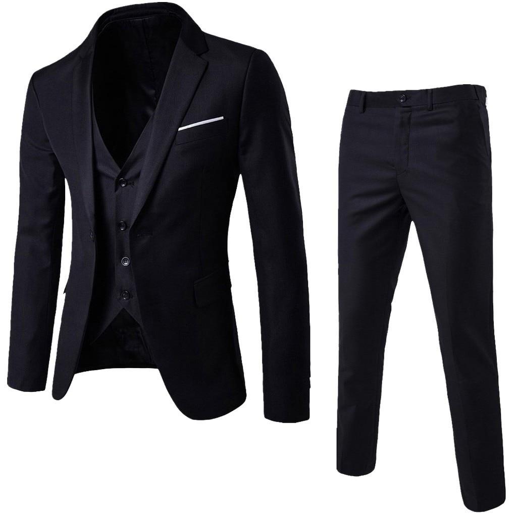 2019 chaquetas de traje de hombre de moda Slim 3 piezas traje Blazer de negocios boda fiesta Chaleco de chaqueta de hombre con pantalones de talla grande conjunto de traje de