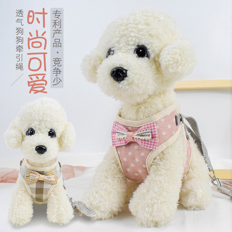 Dog Vest Lanyard Thai Suspender Strap Bear Traction Chest Tibby Small Dogs Dog Lanyard Sub-Leash Unscalable Universal