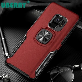 Armor Case For Samsung Galaxy S8 S9 Note8 Note9 Phone Cases Leather Texture Kickstand Ring Holder Car Magentic TPU Cover image