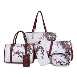 Saco das mulheres novo graffiti diferentes sacos de tamanho seis peças conjunto de pulverização mão sling saco crossbody saco das mulheres grande-