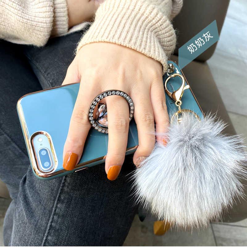 Luxe Vos Bont Bal Telefoon Cover Case Voor Iphone 11 Pro Xs Max Xr X 8 7 6 6S plus Zachte Siliconen Gevallen Ring Houder Kickstand Coque