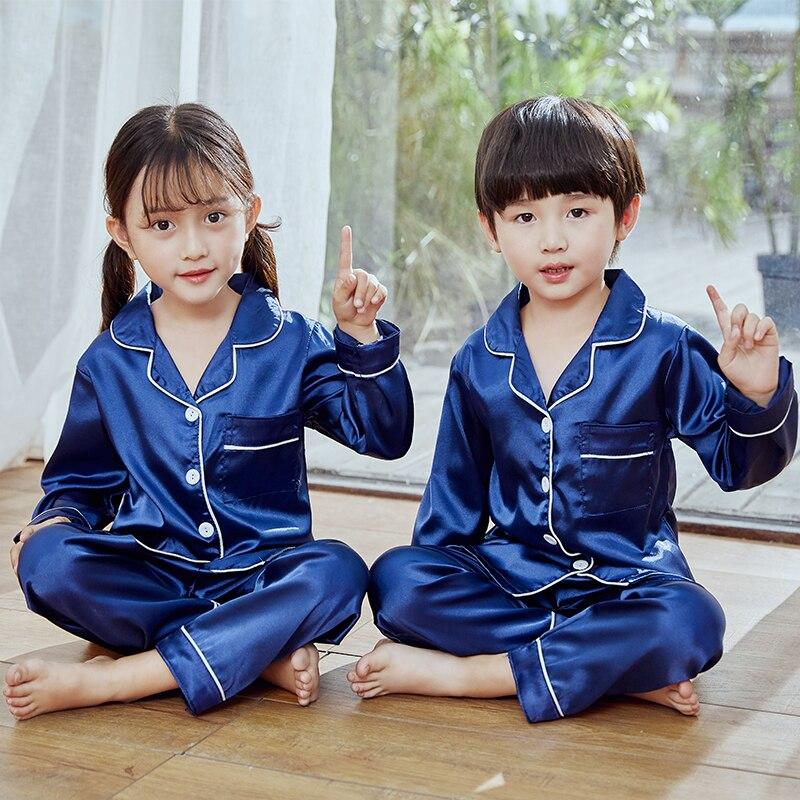 Girls Pajamas 2019 Autumn Winter Long Sleeve Children's Sleepwear Set Silk Pajamas Suit Boys Pyjamas Sets for Kids Tracksuit Set 2