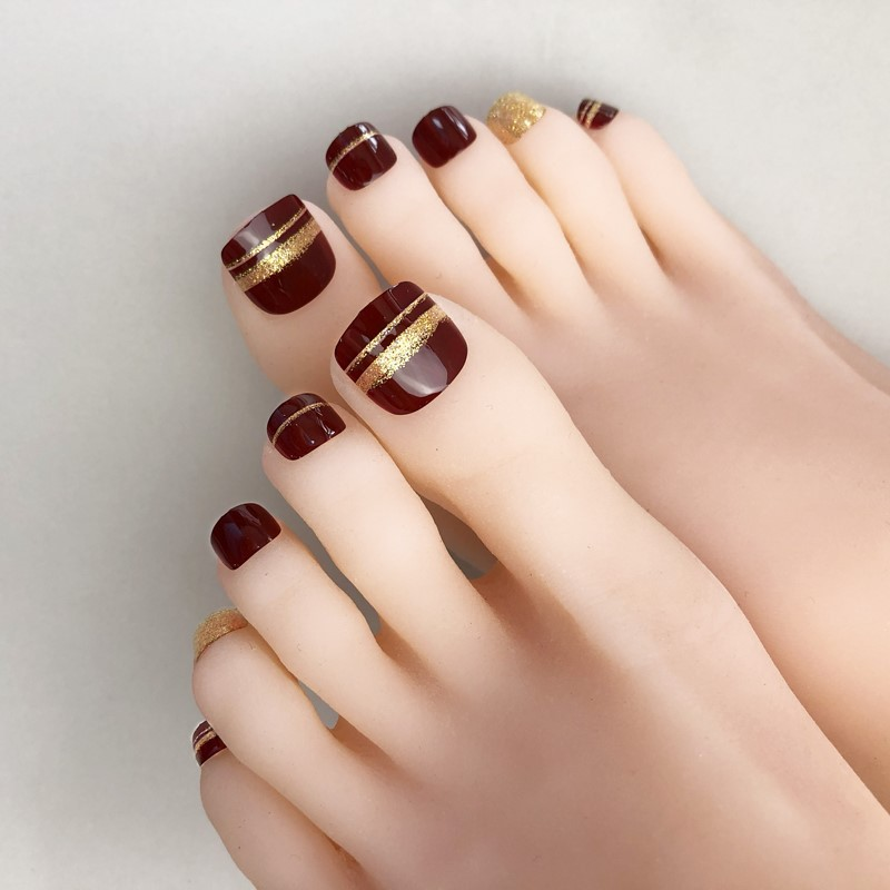 Fake Nails Toenail Patch Nail Stickers Waterproof Long-lasting Toenails Finished Product Short Speed Wearable Nail Tip