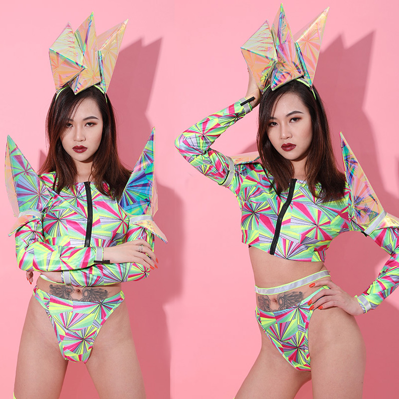 2019 Festival Outfit GoGo Dance Costume Nightclub Bikini Party Wear Jazz Dance Stage Clothes For Female Singers Costume BL2442